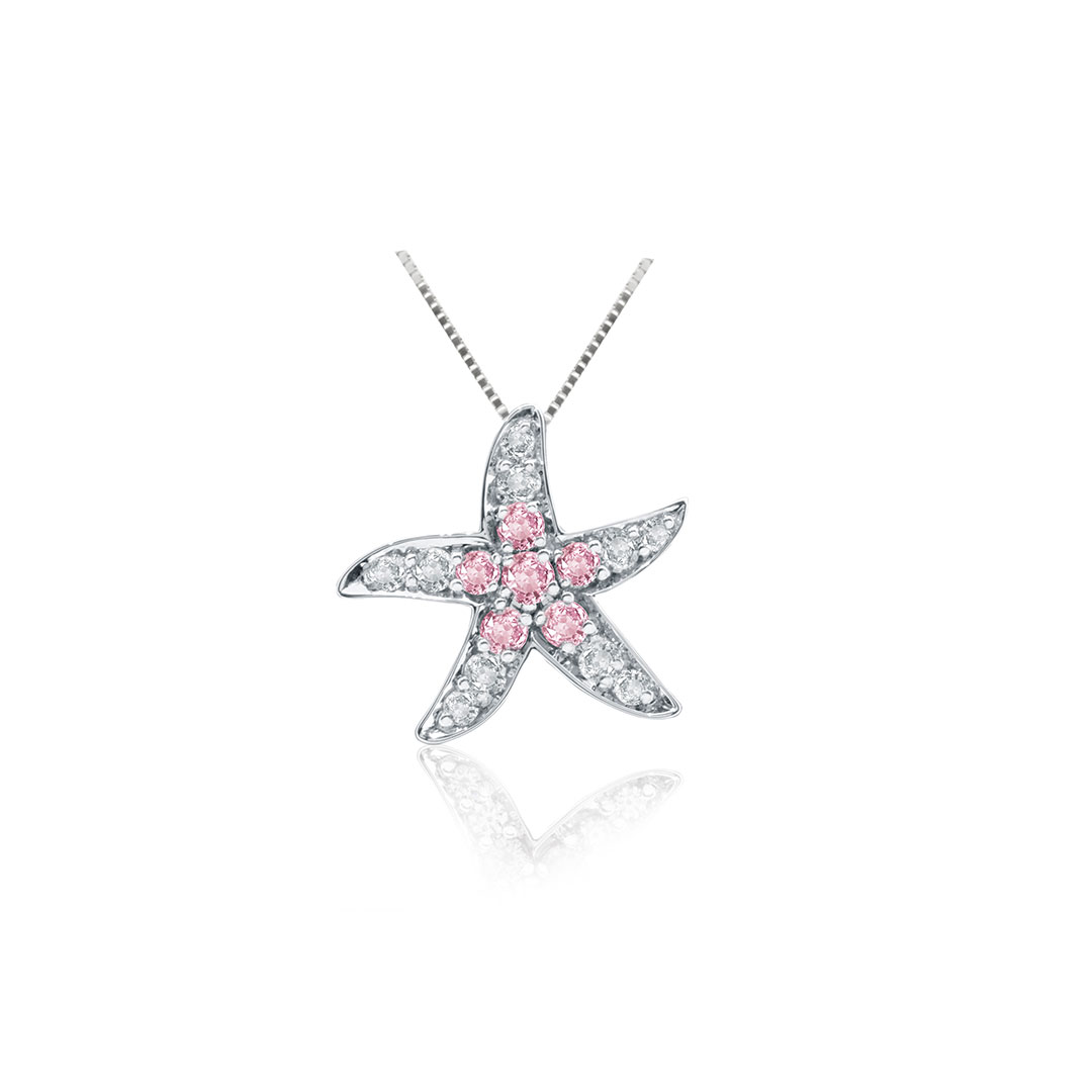 Pink and White Diamond Pendant set in 18k