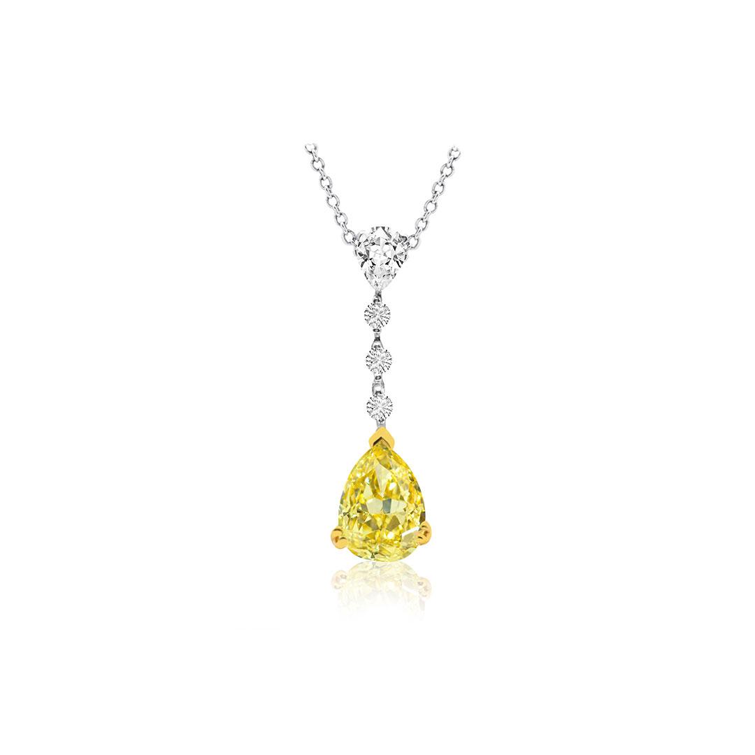 Yellow and White Diamond Pendant set in 18k