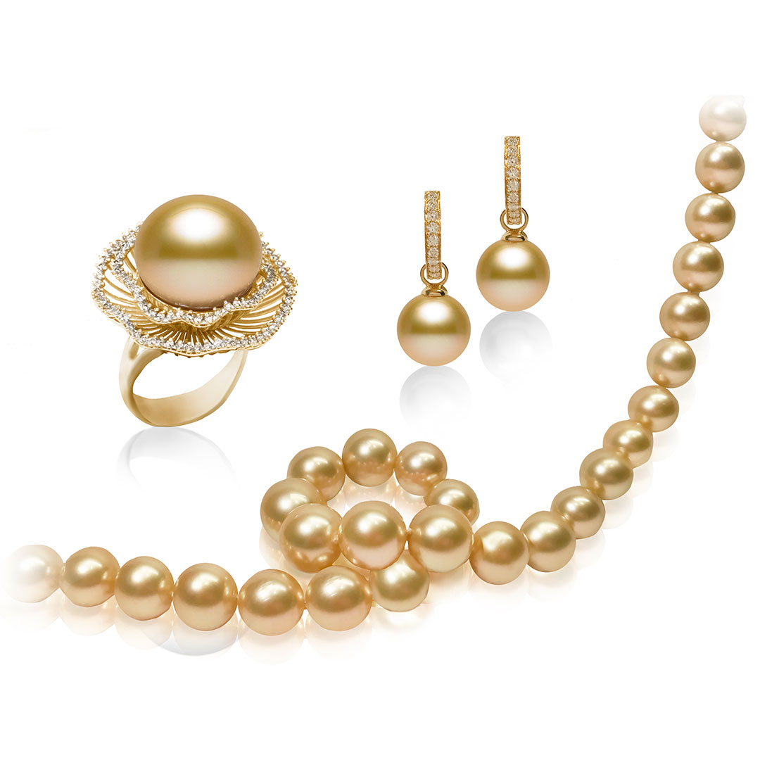 Australian Golden South Sea Pearl Ring Earrings And