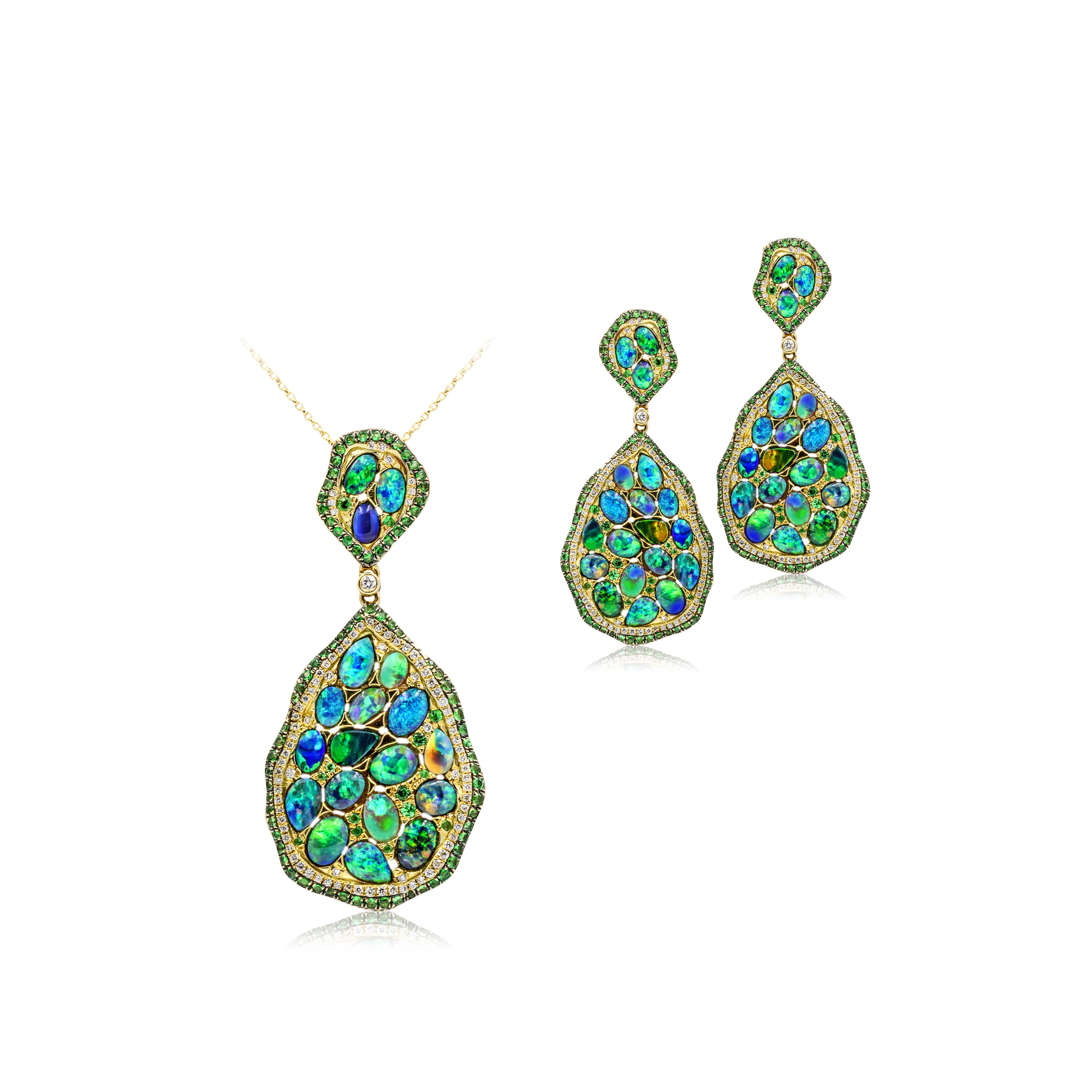Black Opal Pendant and Earrings set in 18k with Diamonds featuring Peacock Green and Blue Colours