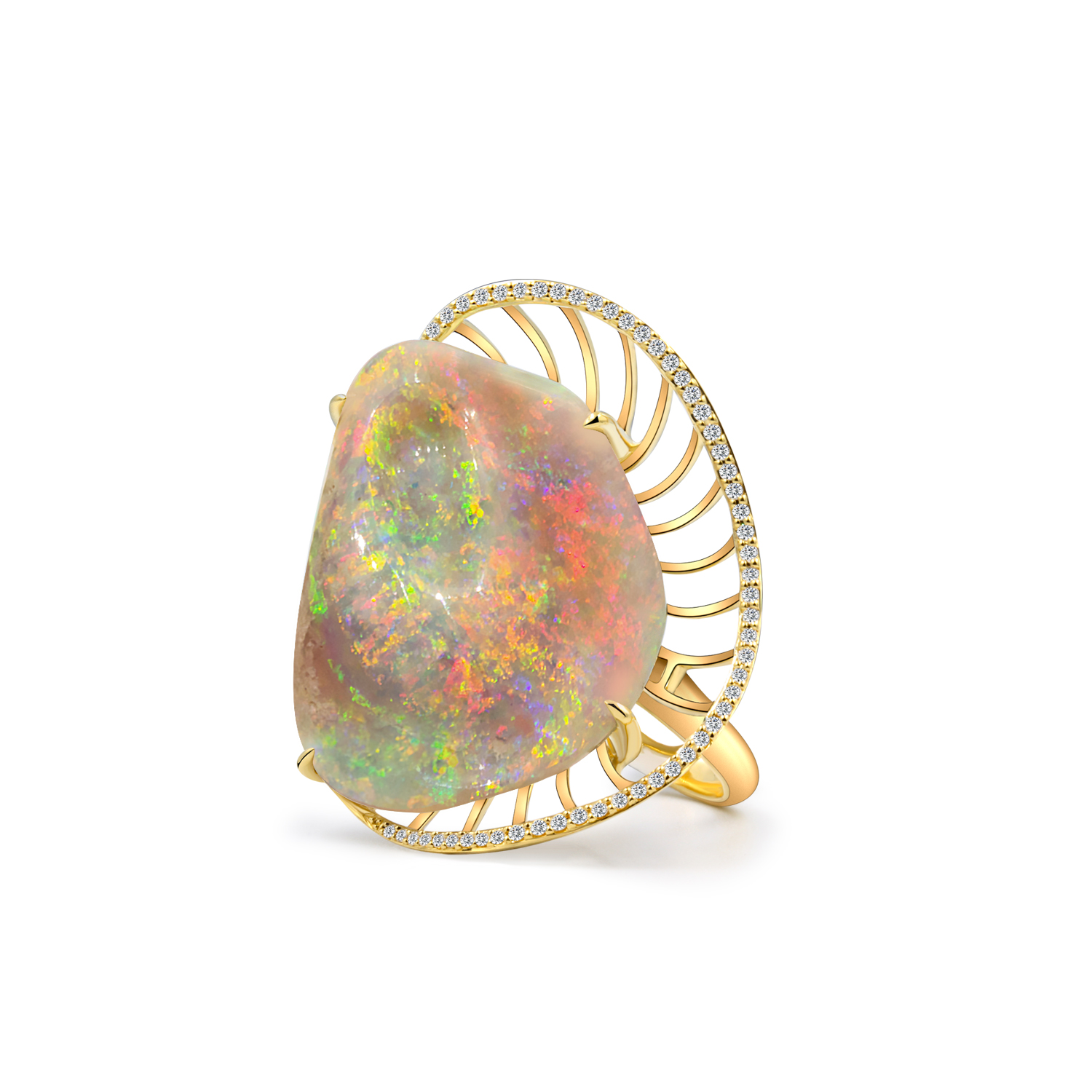 Rare Opalised Fossil Seashell Ring set in 18k with Diamonds displaying Floral Pinfire