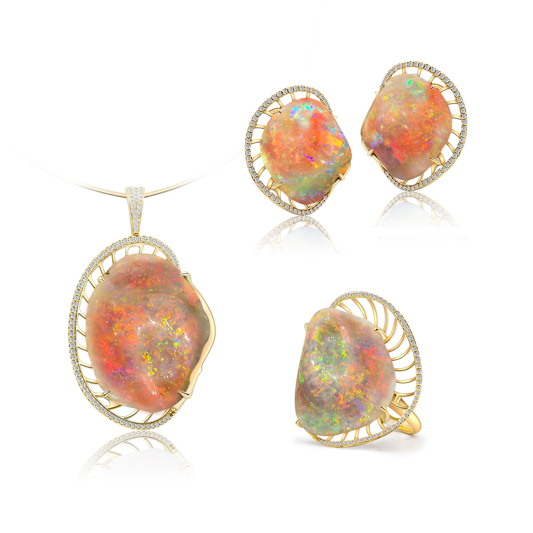 Rare Opalised Fossil Seashell set in 18k with Diamonds