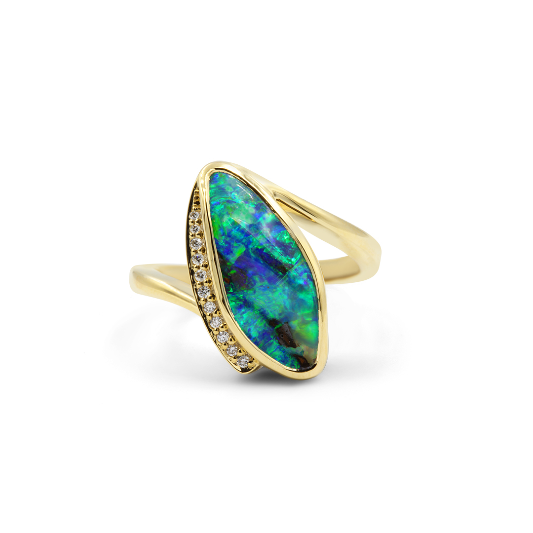 Boulder Opal Ring set in 18k with Diamonds featuring Tropical Island Colours