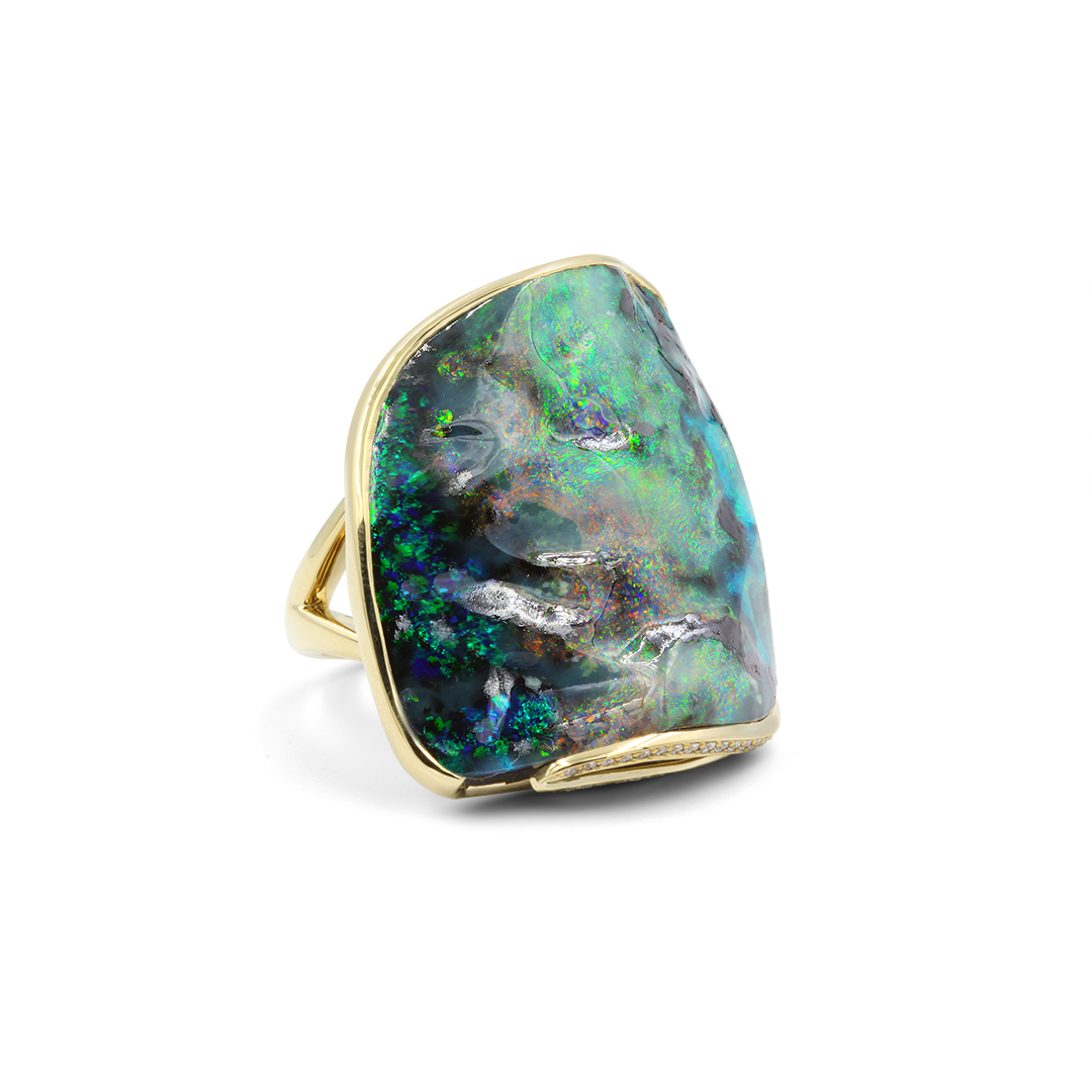 Boulder Opal Ring set in 18k with Diamonds displaying Galaxy Colours