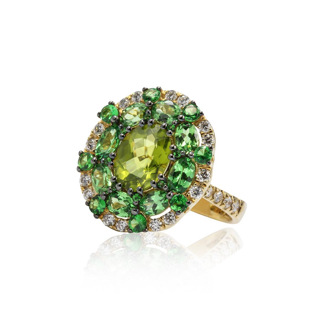 Multi Gemstone Ring in 18k with Diamonds