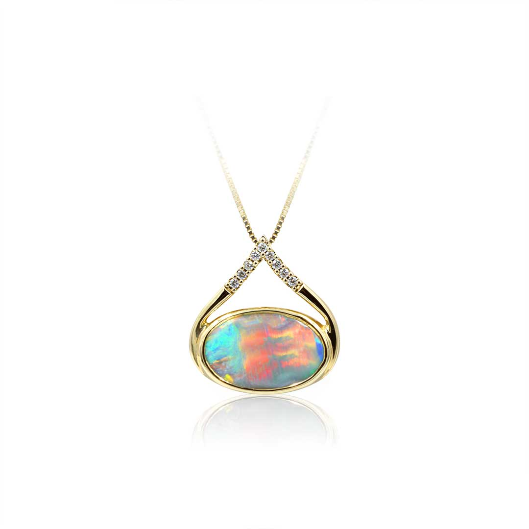 Black Opal Pendant set in 18k with Diamonds featuring Colours of the Sunset  Copy