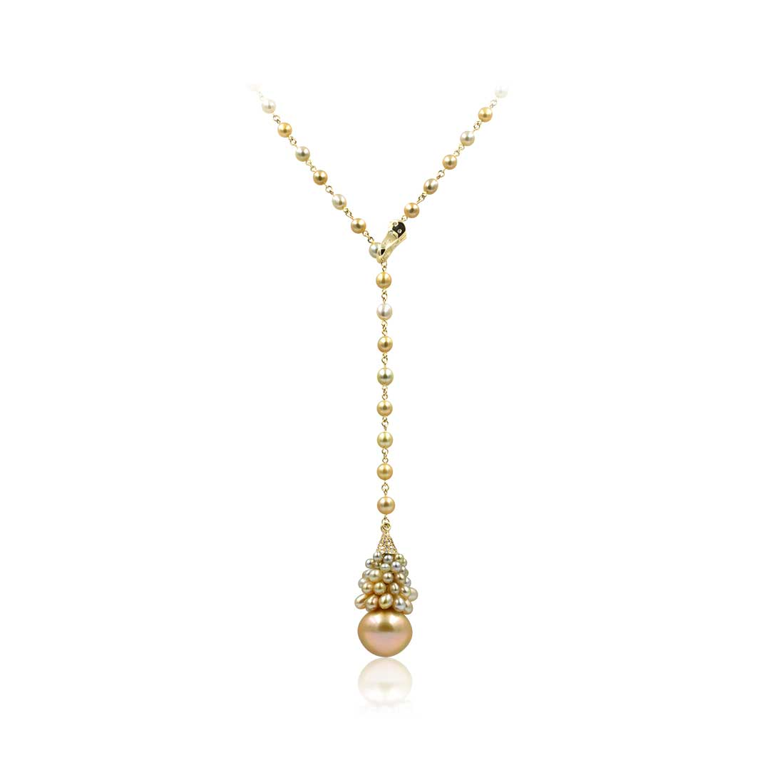 Australian Golden South Sea Pearl Necklace set in 18k with Diamonds
