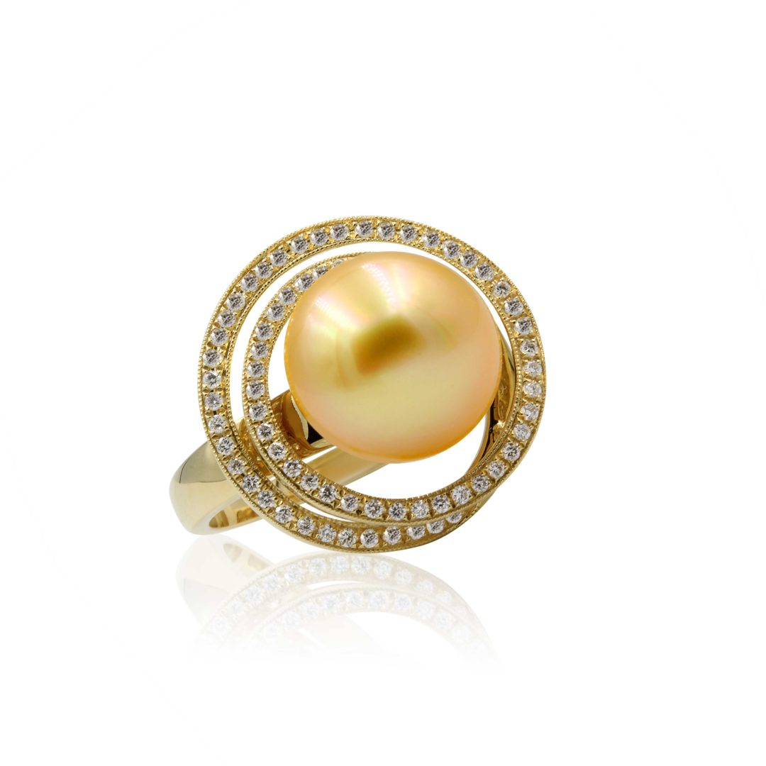 Australian Golden South Sea Pearl Ring set in 18k with Diamonds