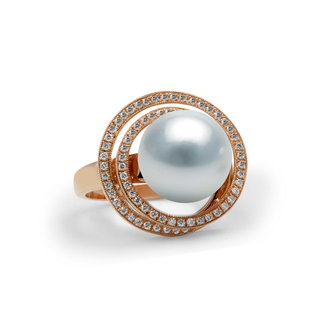 Australian White South Sea Pearl Ring set in 18k with Diamonds