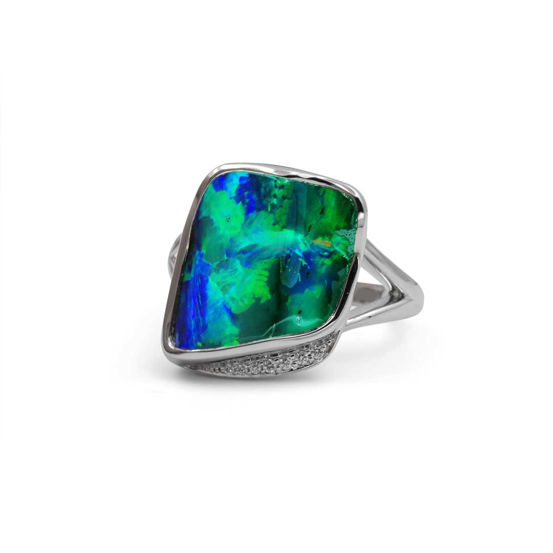 Boulder Opal Ring set in 18k with Diamonds featuring A Floral Pattern