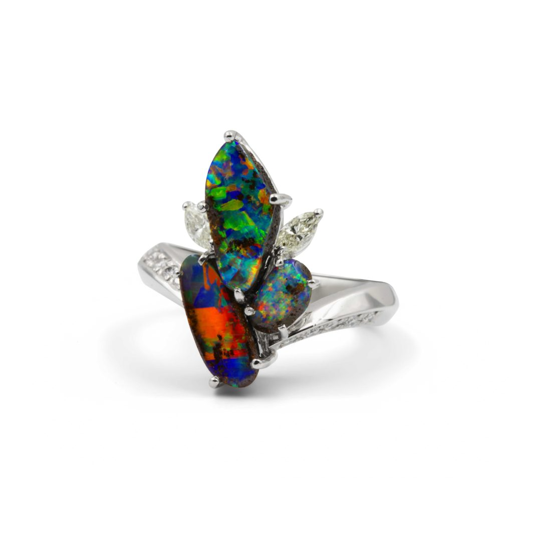 Boulder Opal Ring set in Platinum with Diamonds featuring Burst of Striking Colours