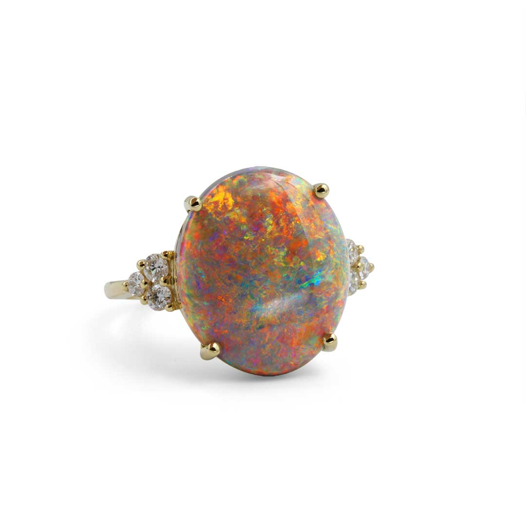 Black Opal Ring set in 18k with Diamonds displaying Outback Spring Flowers