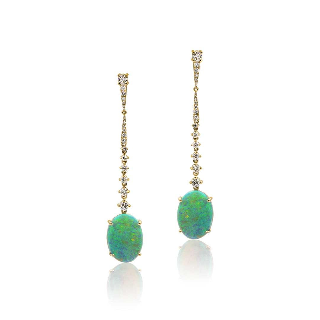 Black Opal Earrings set in 18k with Diamonds featuring Colours of Forest Ferns
