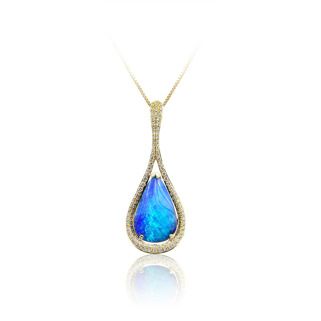 Boulder Opal Pendant set in 18k with Diamonds featuring Beauty of the Droplet