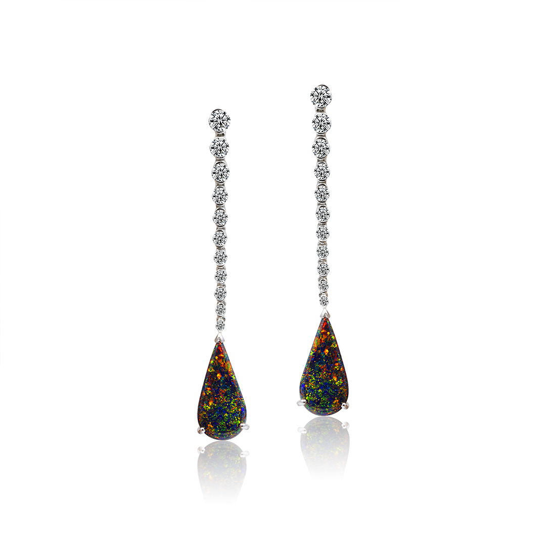 Black Opal Earrings set in 18k with Diamonds featuring Pixie Dust