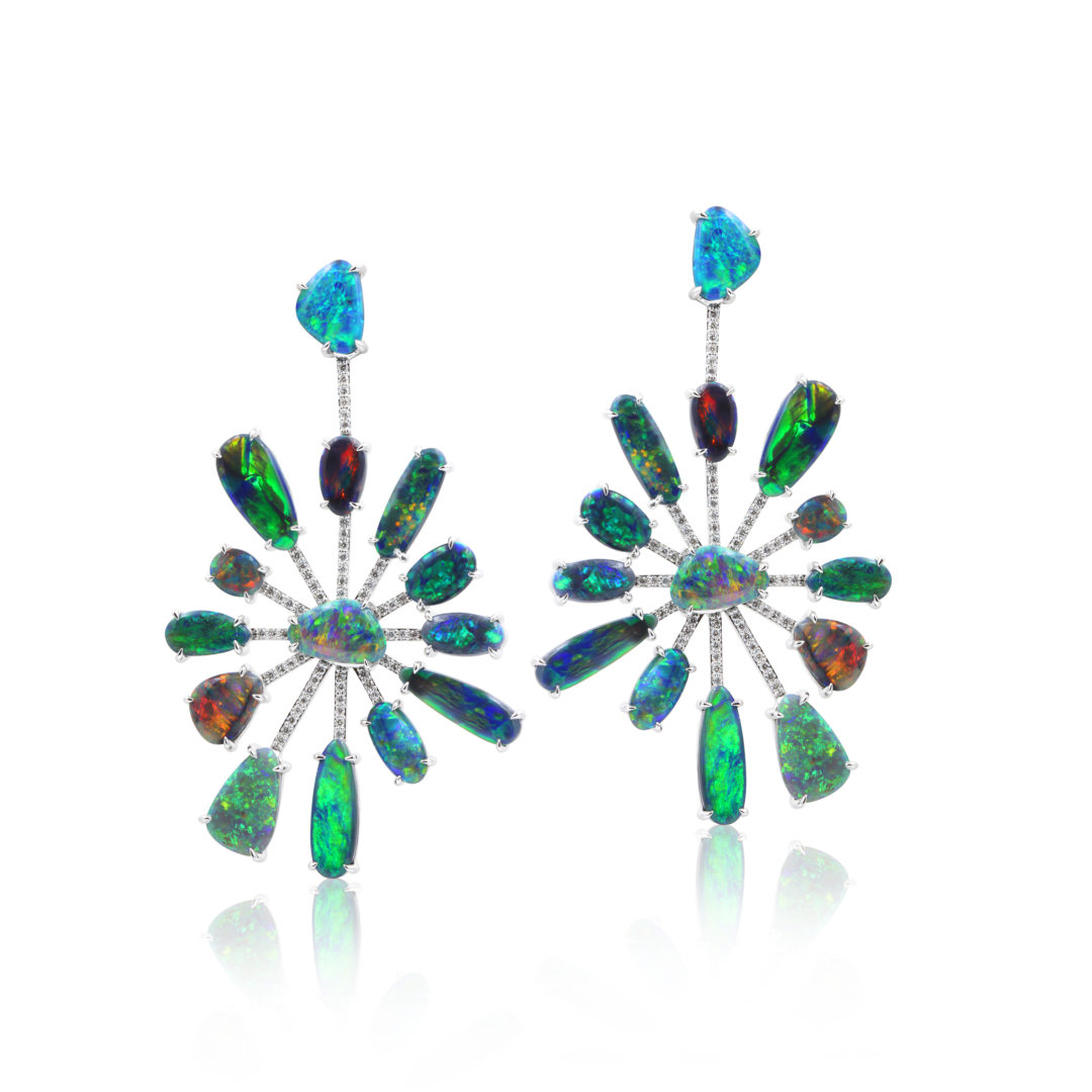 Starburst Black Opal Earrings set in 18k with Diamonds featuring Multi Rainbow Colours