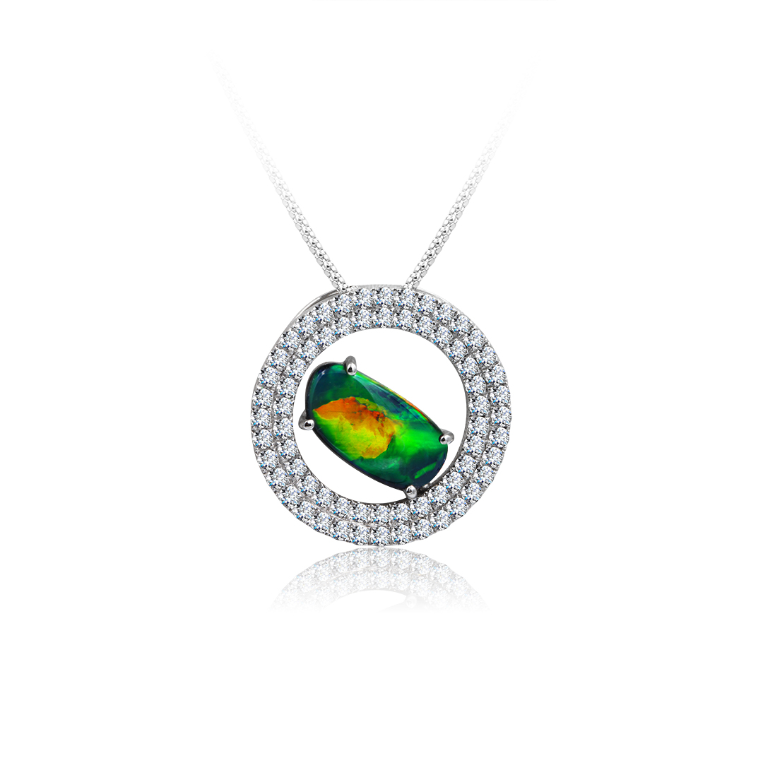 Black Pendant set in 18k with Diamonds featuring Flashes of Oranges and Greens
