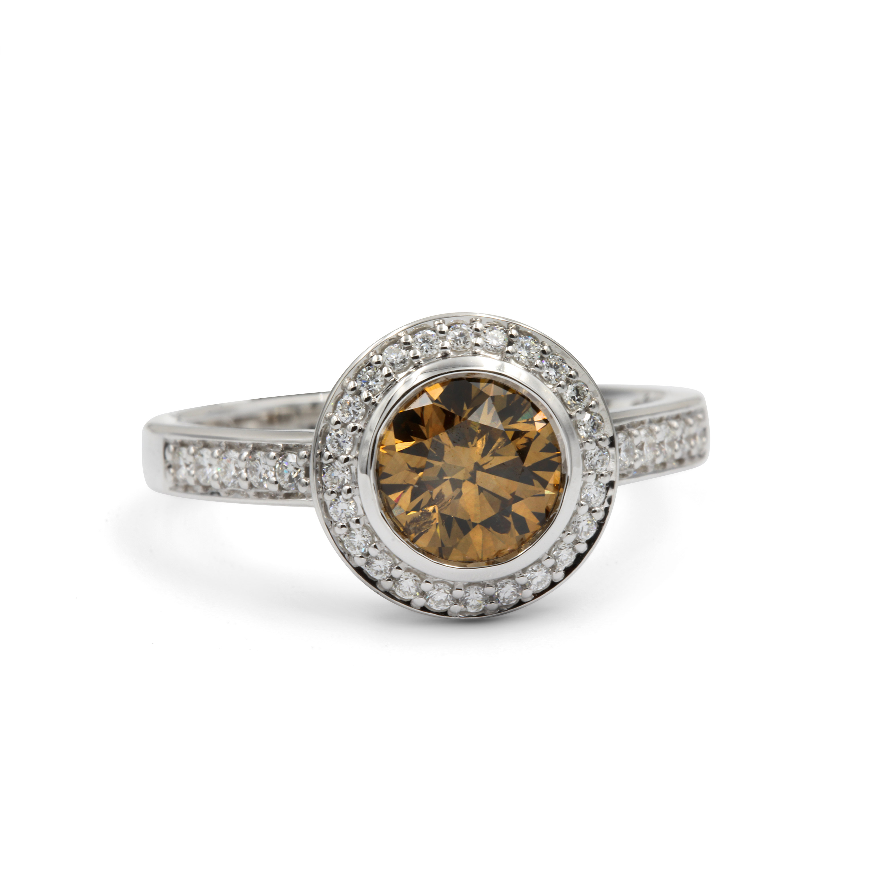 Cognac Diamond Ring in 18k White Gold surrounded by White Diamond Halo