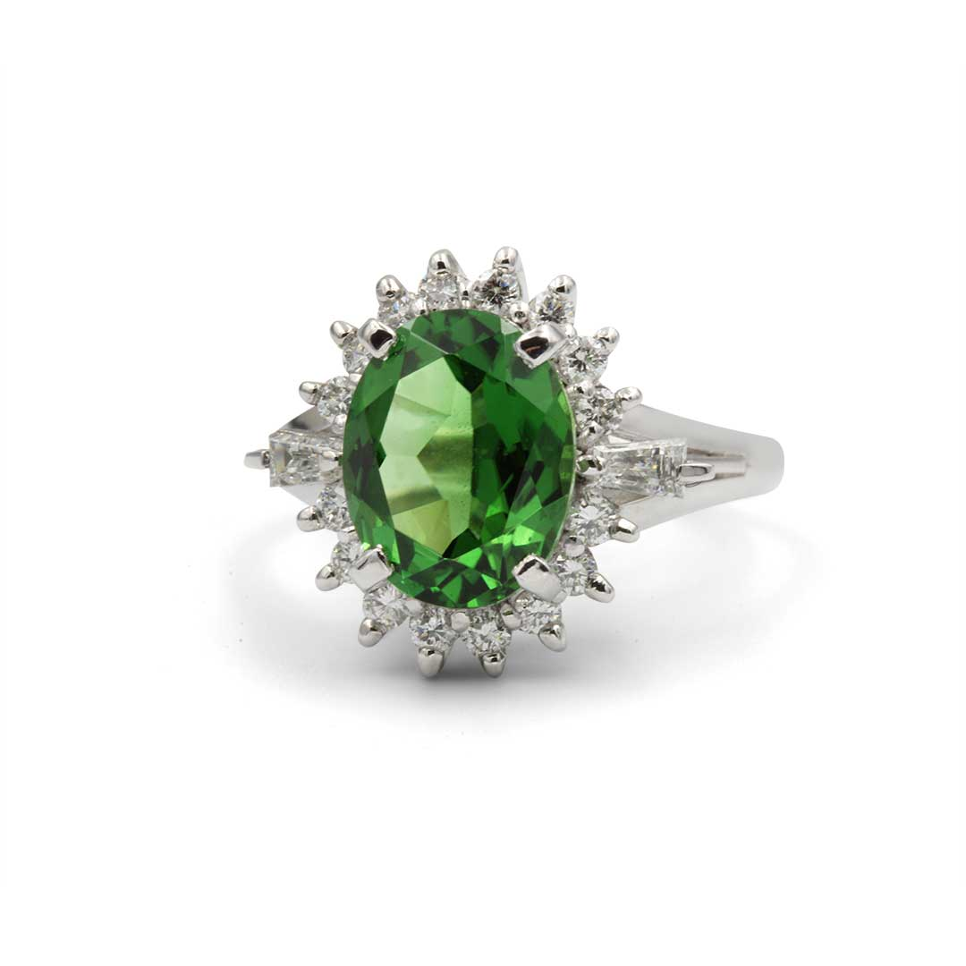 Oval Green Tourmaline Ring in Platinum with Diamonds