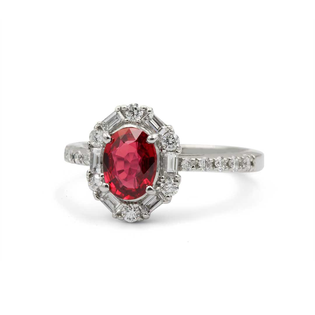 Ruby Ring set in Platinum surrounded by Diamonds