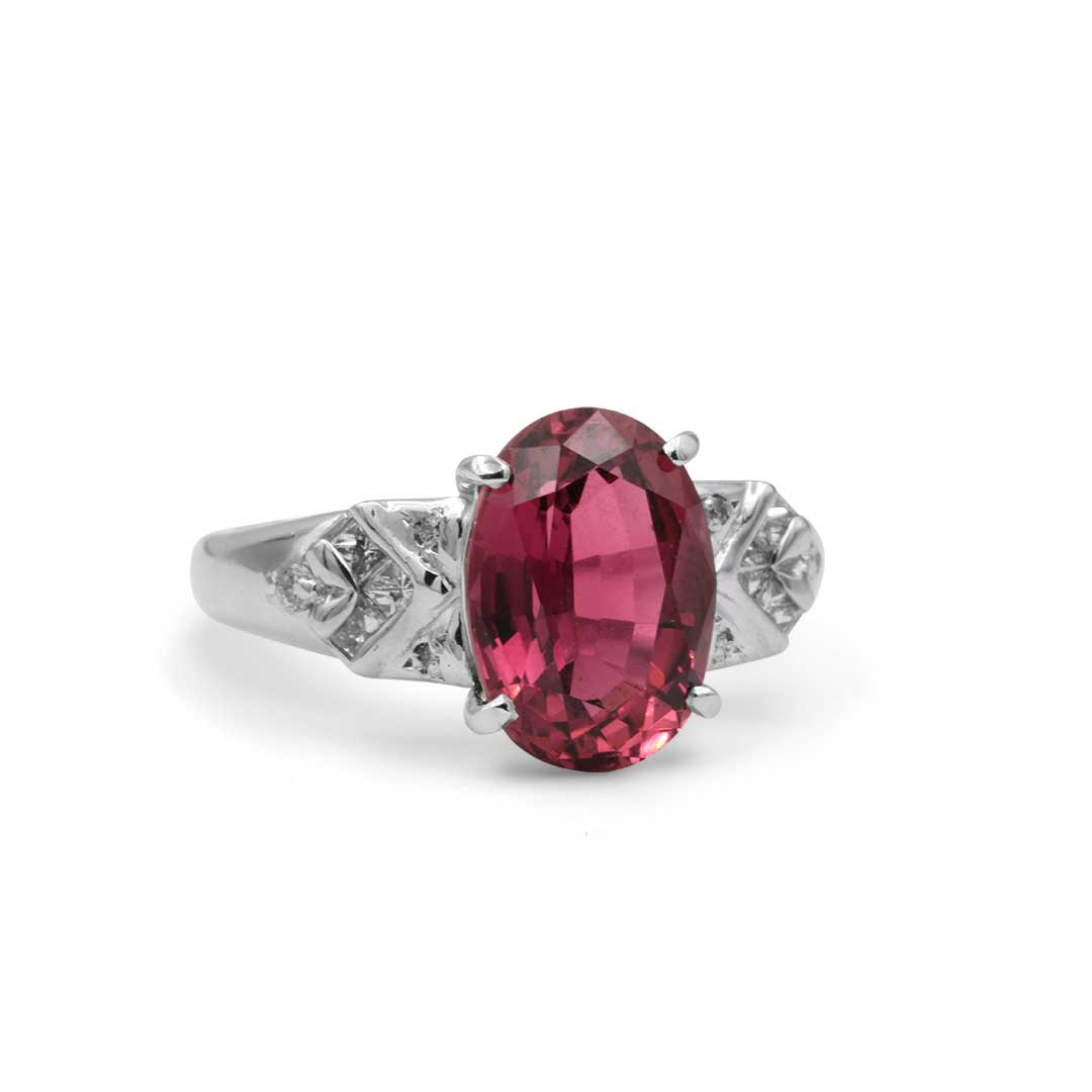 Oval Pink Tourmaline Ring in Platinum with Diamonds