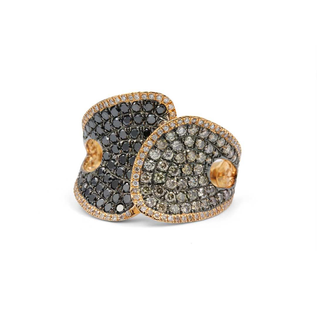 Black Diamond Ring in 18k Rose Gold