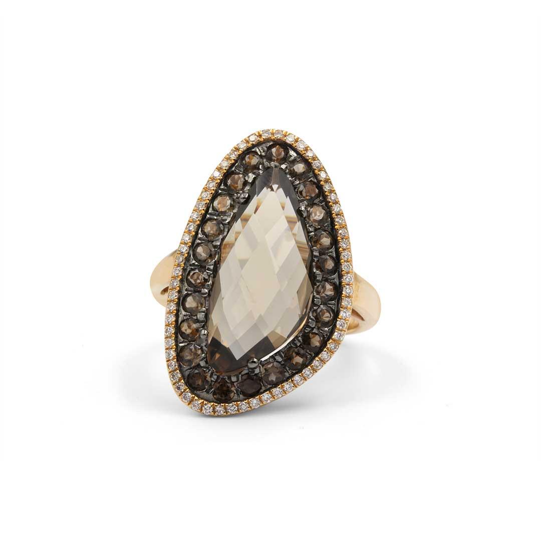 Smoky Quartz Ring set in 18k Rose Gold