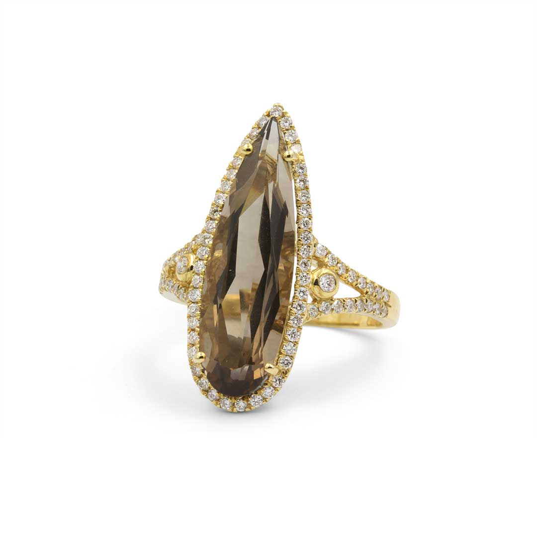Pear Shape Smoky Quartz Ring in 18k with with Diamonds