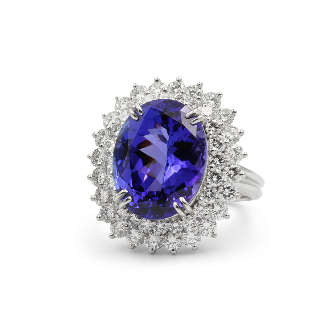 Oval Tanzanite Ring in Platinum with Double Halo Diamonds