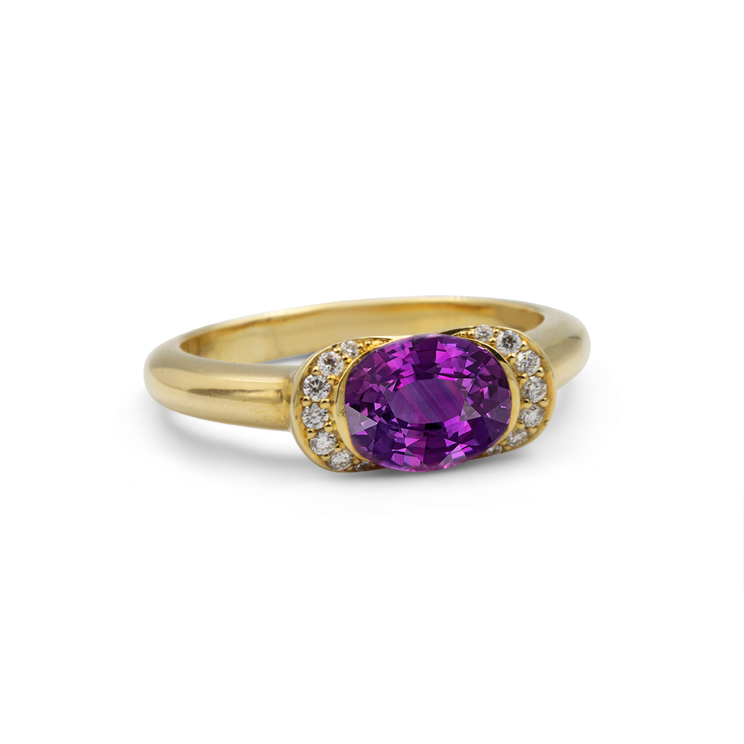 Oval Shape African Sapphire Ring set in 18k with Diamonds