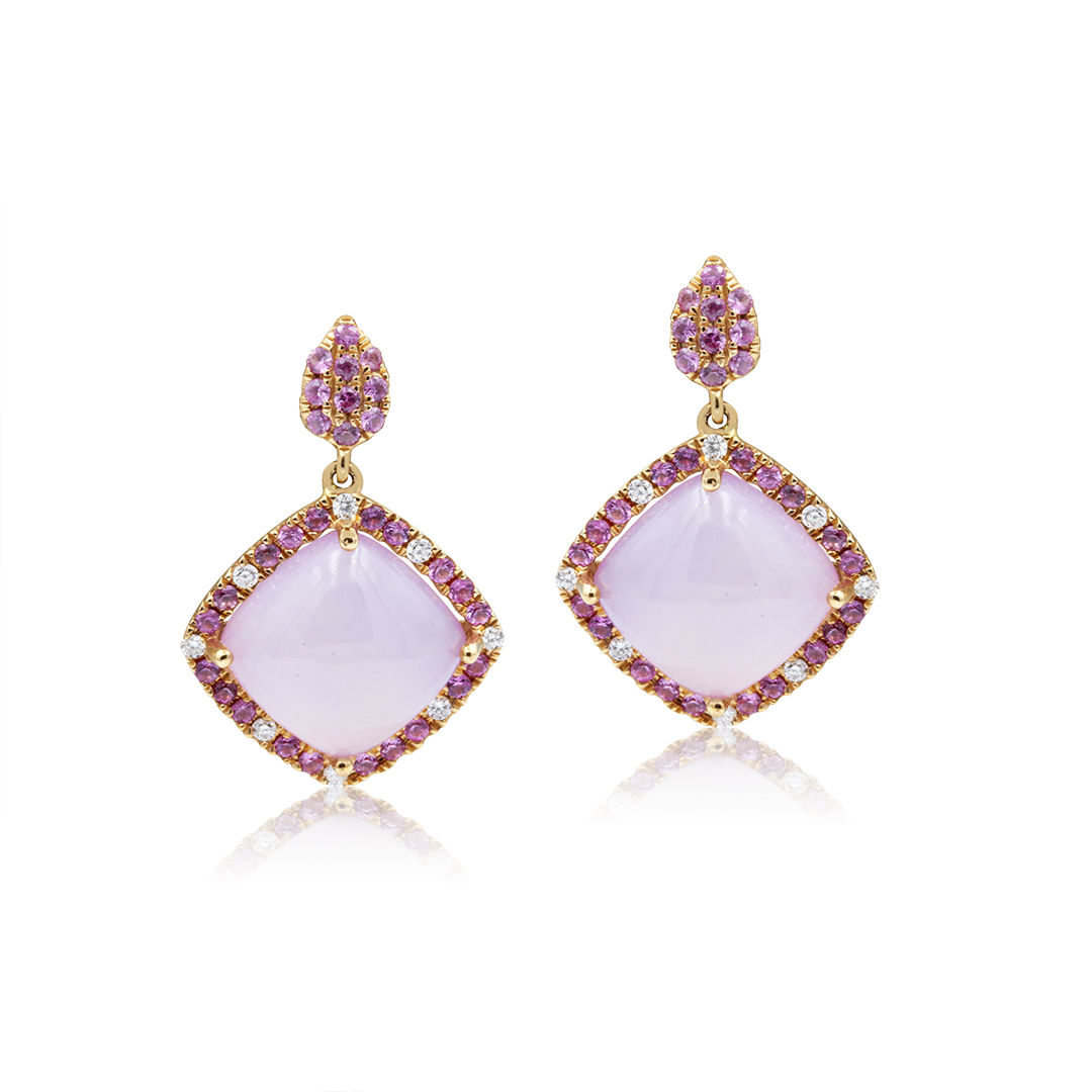 Rose Quartz Earrings set in 18k with Diamonds and Pink Sapphires