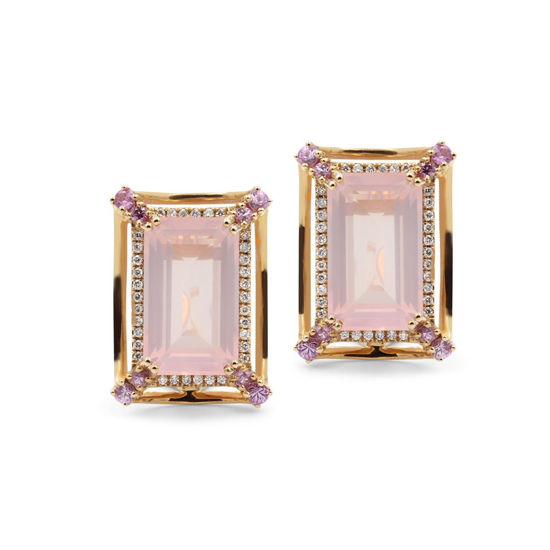 Emerald Cut Rose Quartz Earrings set in 18k with Diamonds and Pink Sapphires