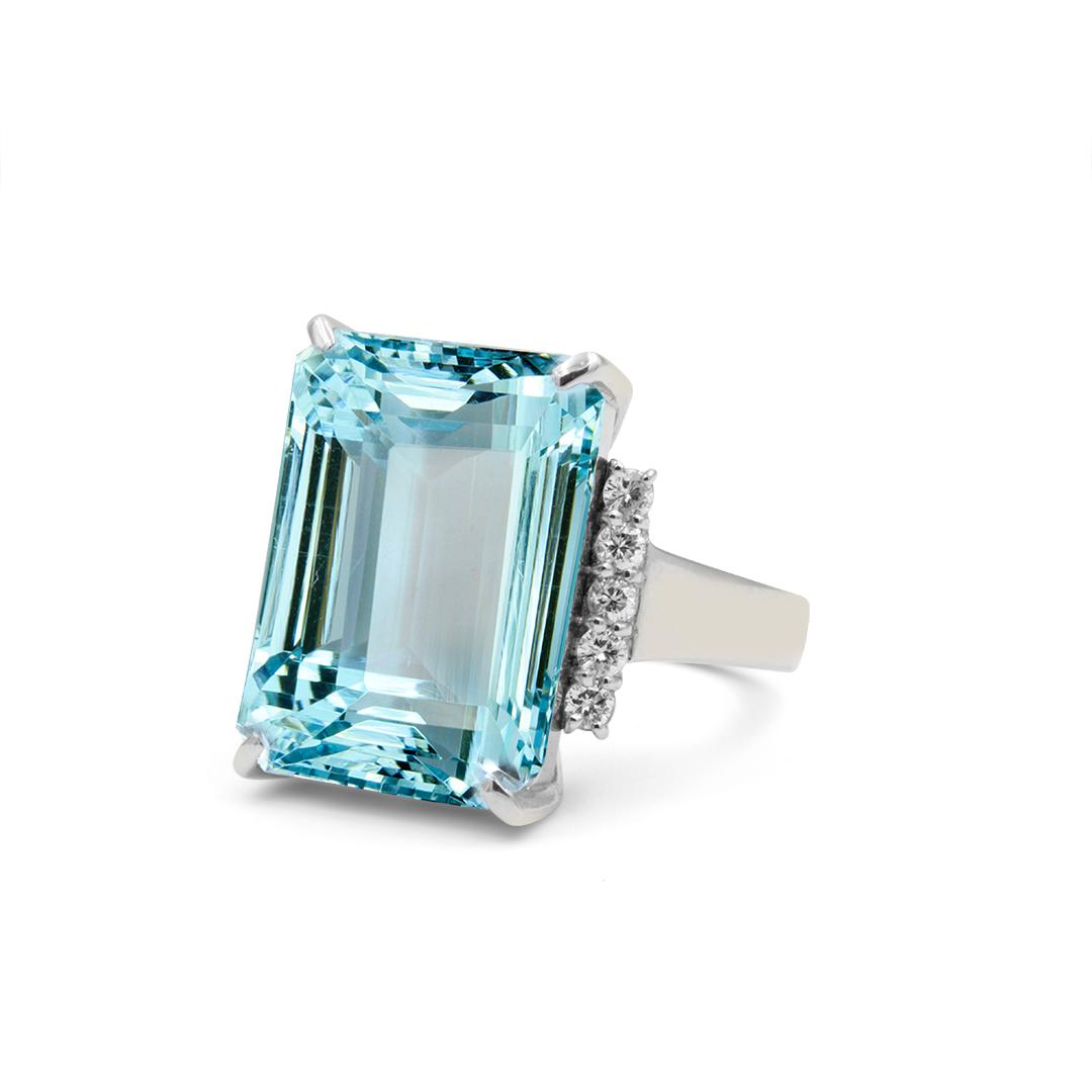 Emerald Cut Aquamarine set in Platinum with Diamonds