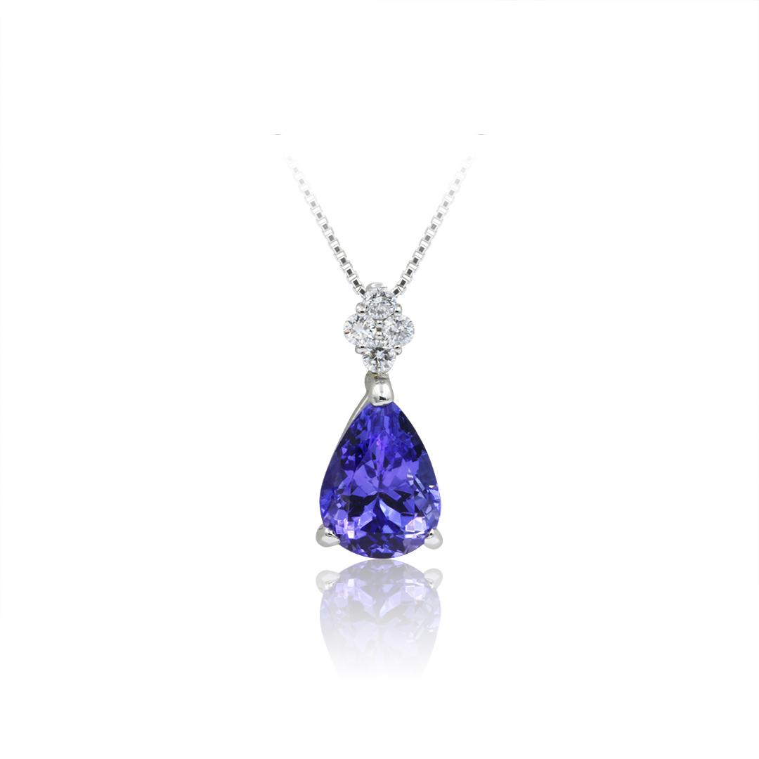 Pear Shape Tanzanite Pendant set in Platinum with Diamonds