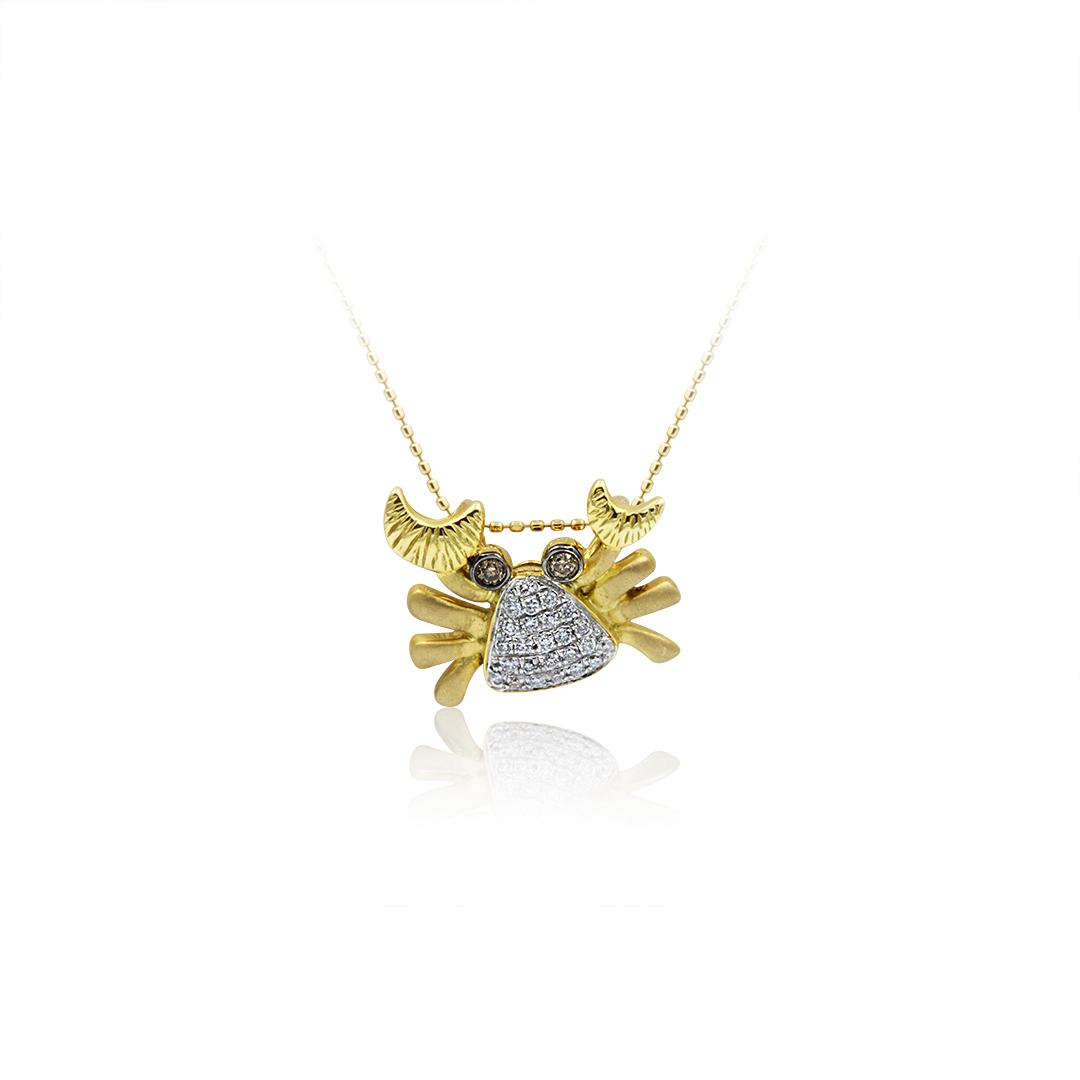 Crab Pendant set in 18k with Diamonds