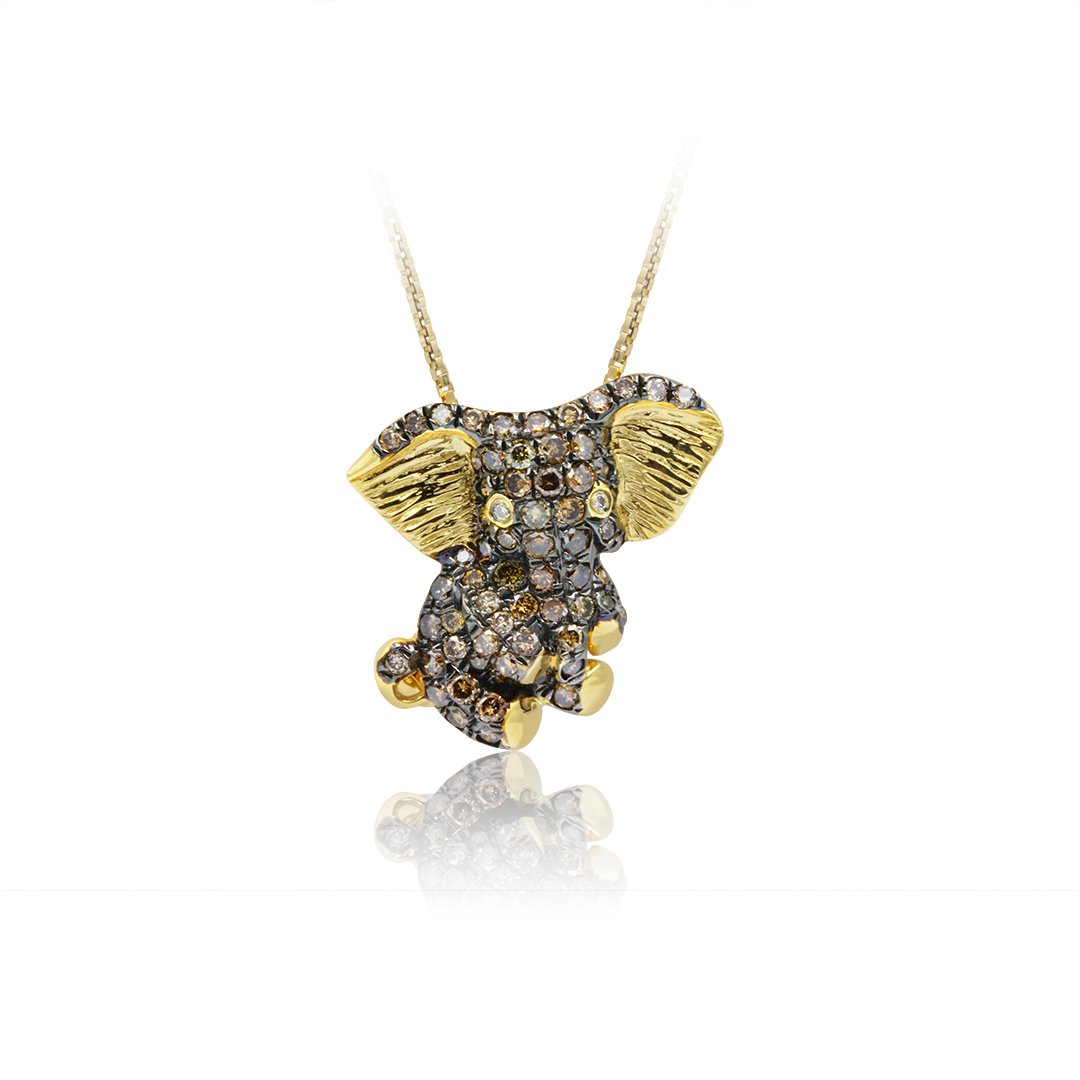 Elephant Pendant set in 18k with Diamonds