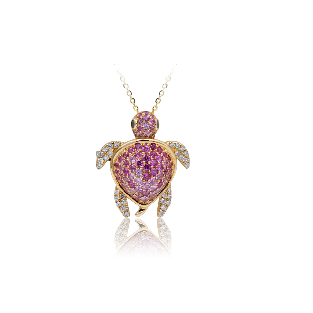 Turtle Pendant set in 18k with Diamonds and Pink Sapphires