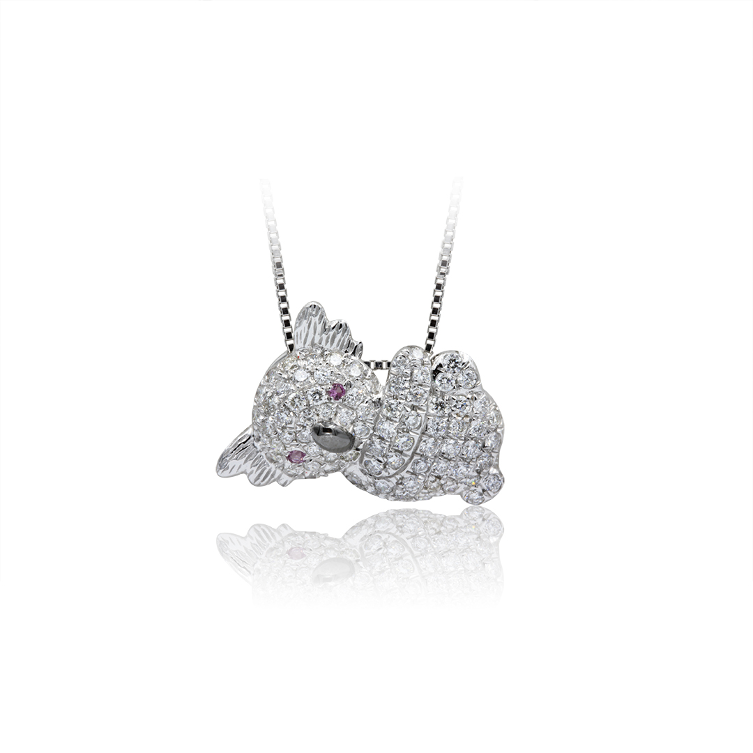 Koala Pendant set in 18k with Diamonds and Pink Sapphires