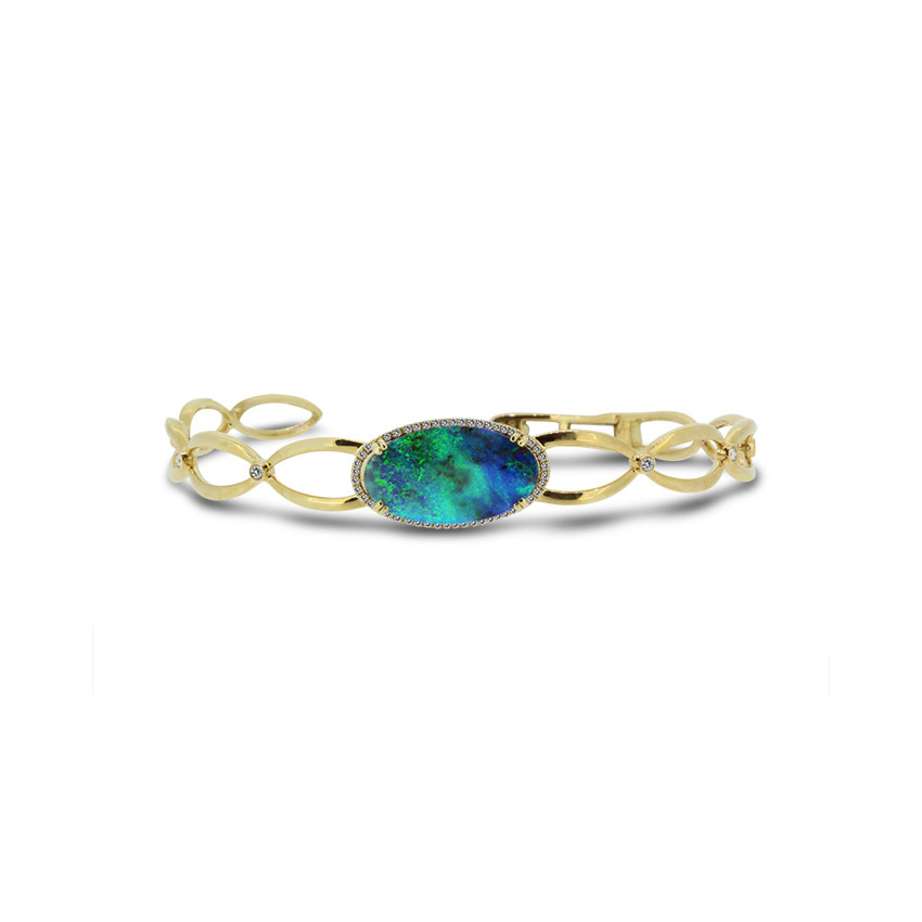 Boulder Opal Bangle set in 18k with Diamonds displaying Blues and Greens