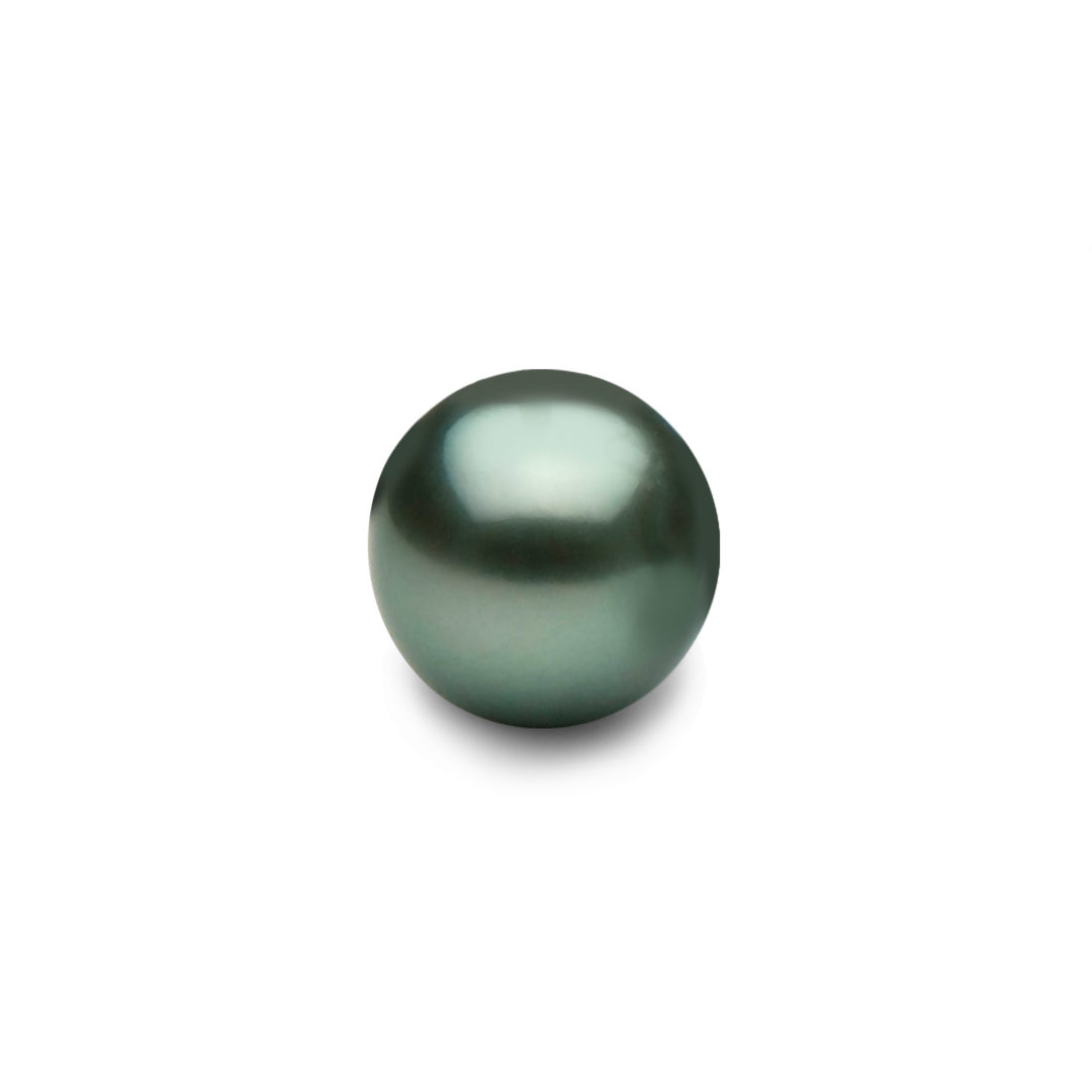 Round Tahitian Pearl featuring Peacock Green Colour