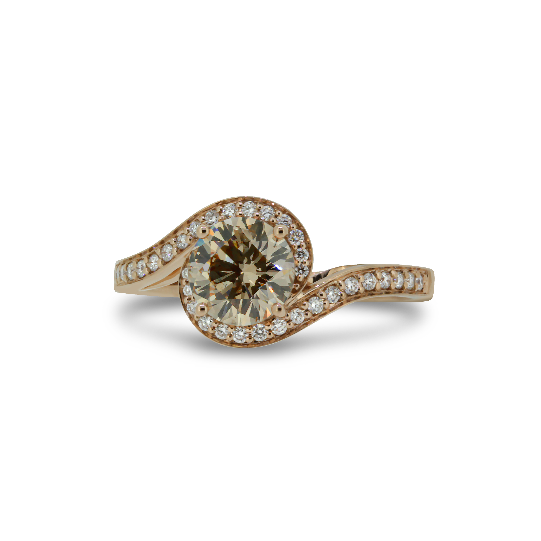 Round Brilliant Cut Cognac Diamond Ring in 18k Rose Gold