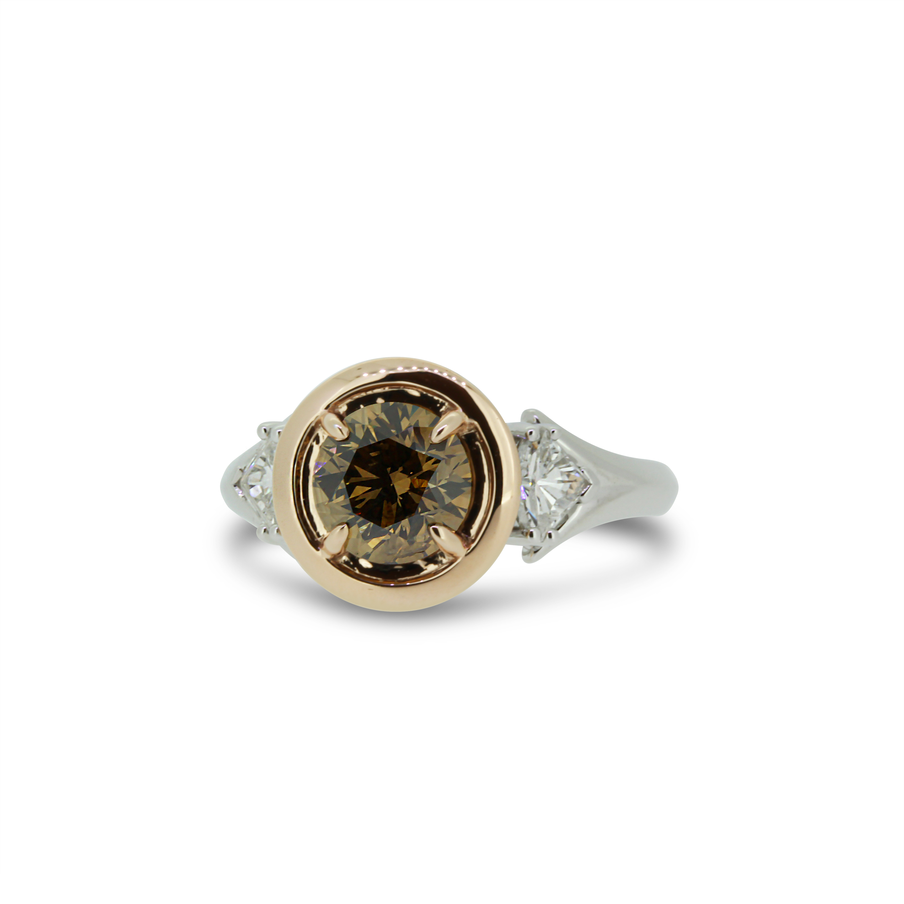 Round Brilliant Cut Cognac Diamond Ring in 18k White and Rose Gold