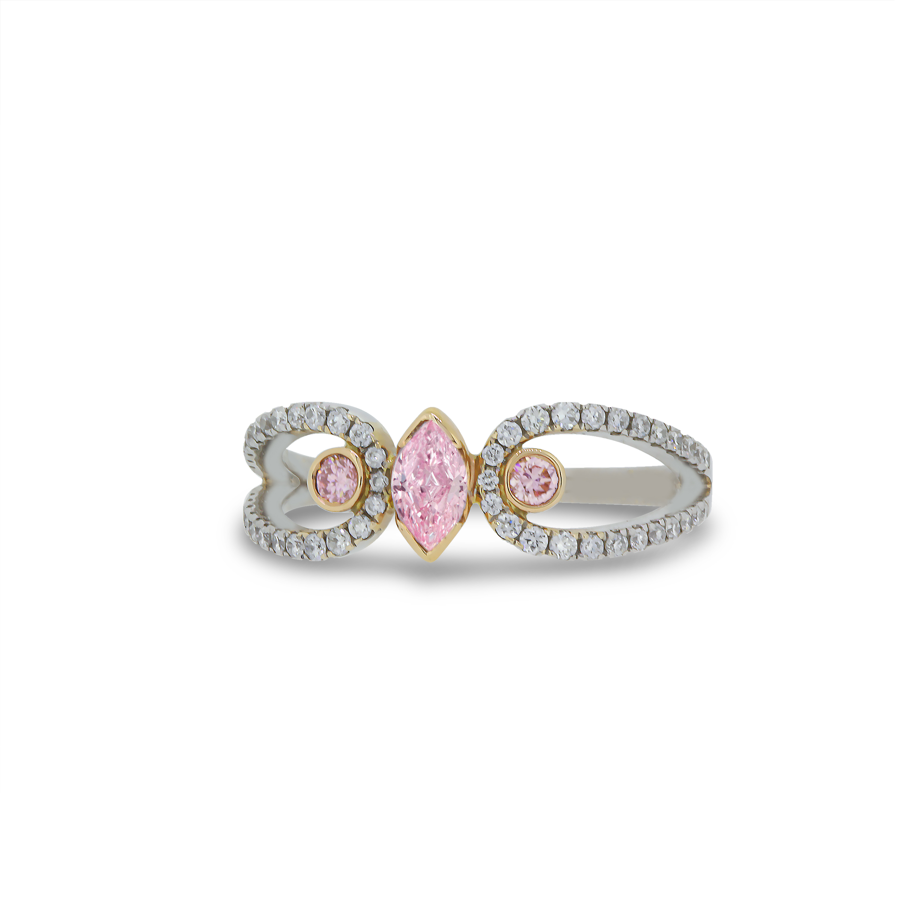 Marquise Cut Fancy Pink Diamond Ring in 18k White and Rose Gold