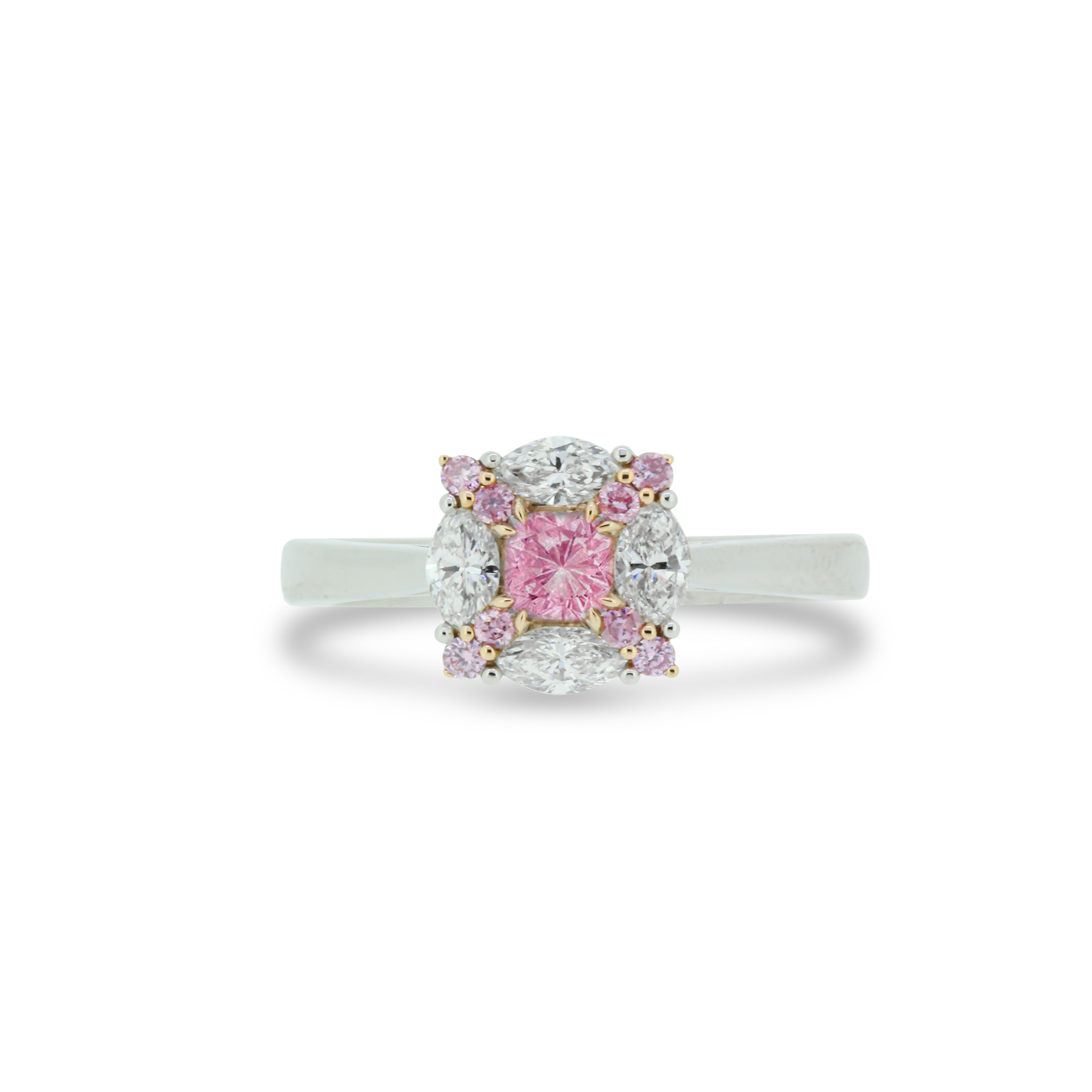 Cushion Cut Fancy Pink Diamond Ring in 18k White and Rose Gold